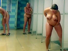 Pregnants and matures in public shower