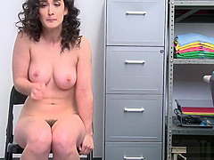 LP officer eating Lyra Lockharts hot pussy over the desk bar he spread her legs wide open