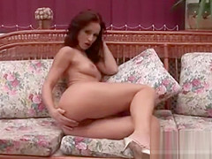 Hot Skinny Brunette Rubs Her Body And Pussy