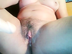 Hairy pussy girl masturbate and squirt