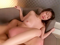 Petite busty asian babe facialized on a sofa