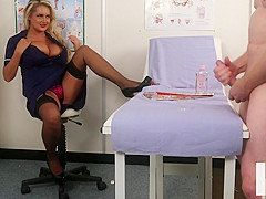 Bigtitted nurse voyeur encouraging sub to tug