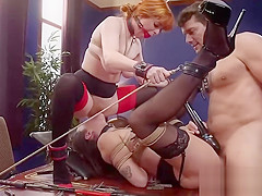Slaves anal fucked and made squirt