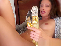 French brunette Clea caught masturbating with dildo