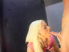 Stunning European babe Katja Kassin sucks his huge cock