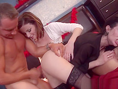 Four femdoms cockriding in hot cfnm group