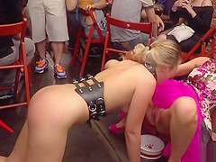 Euro blonde anal fucked in public bar