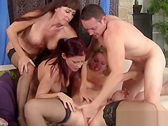 Three busty milfs take long schlong in mouths and cunts