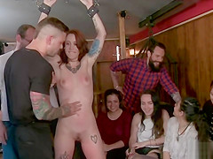 Spanish redhead whipped outdoor