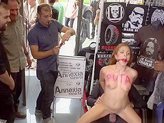 Spanish slut fucked in busy public shop