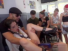 Euro slave in eyeglasses fucks in public