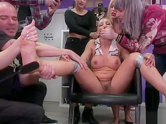 Busty gets facial in public boutique