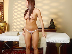 Alluring massage babe banged by her masseur