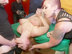 Busty slave group fucked in pool bar