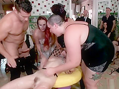 Picked up in public anal group fucked in flat