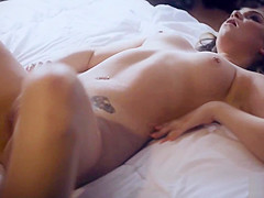 Athena Faris is fascinated by Codey Steeles dripping cum in her pussy