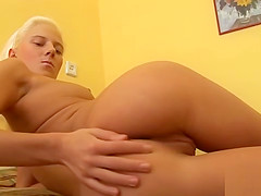Erotic cutie is gaping wet twat in closeup and coming