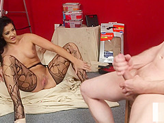 Milf voyeur instructing tugging submissive