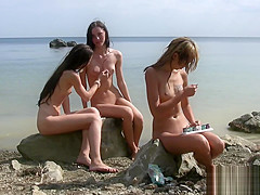 Naked teen nudist group out on beach naturists exercise undressed outdoors
