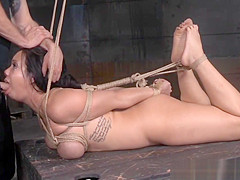 Busty bdsm sub gags on maledoms dick in trio