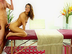 Petite babe banged doggystyle by masseur