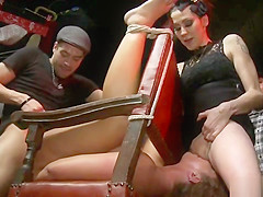 Slave anal fucked at punk public show