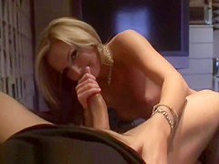 Sexy Blonde Housewife Gives Handjob