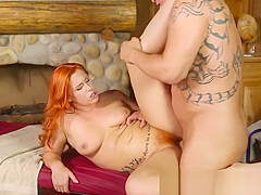 Ginger masseuse fucks her client