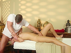 Seductive beauty facefucked by her masseur