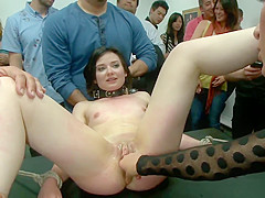 Wet pussy slave fisted in public