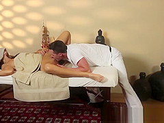 Pussylicked MILF gets fucked by masseur