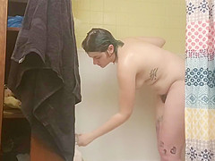 chubby curvy pear shaped pawg with hairy bush showers