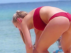 Blonde Babe Red Thong