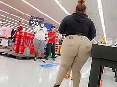 Bbw Walmart employee big booty wedgie see thru