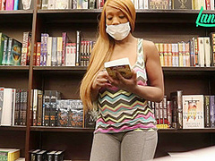 Ebony Babe Almost Caught Flashing & Fucking Herself In Retail Stores With Lana Lava