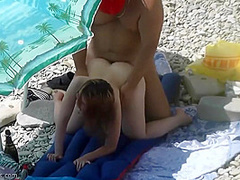 Teen Gets Fucked In Public Beach By Older Man