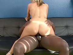 Blonde Babe Ashley Winters Gives Upskirt To Get Black Guy Horny