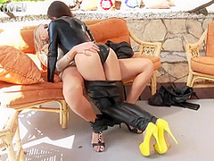 Passionate Blonde Lets A Delightful Brunette Give Her Some Pleasure With Her Fingers And Lips