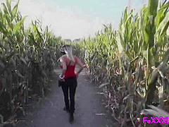 Blond Flashes In Public Corn Maze Then Takes A Load To Her Face - Pov Amateur Couple