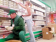 Russian big ass in supermarket