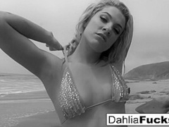 Hot Dahlia Gets Naughty And Squirts All Over The Beach