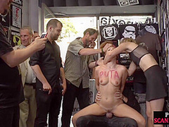 Redhead eurobabe gets spanked in public and fucked after