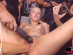 Public spanking of blonde euro babe in ropes getting fucked