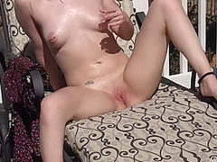 Aria Amore - Skinny Blonde With Shaved Pussy Solo Outdoors