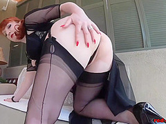 Mom Teasing Outside On The Patio With Red Xxx