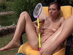 Skinny Teen Stuffed Shaved Pussy With Sex Toys Outdoors