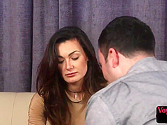 Inked british voyeur strips while watching submissive guy