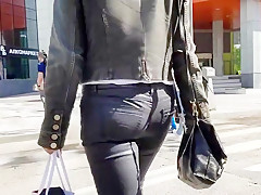 Sexy russian ass in black lather jeans