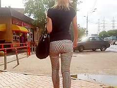 Russian round ass walk on the street