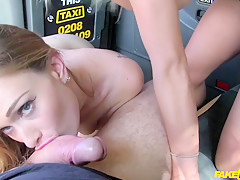 Barbie Sins & Honour May in Taxi training leads to threesome - FakeTaxi